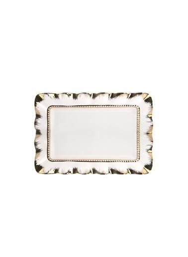 ROY KİNG Beyaz Altın Avangarde Sunum Tabak 36Cm Renkli